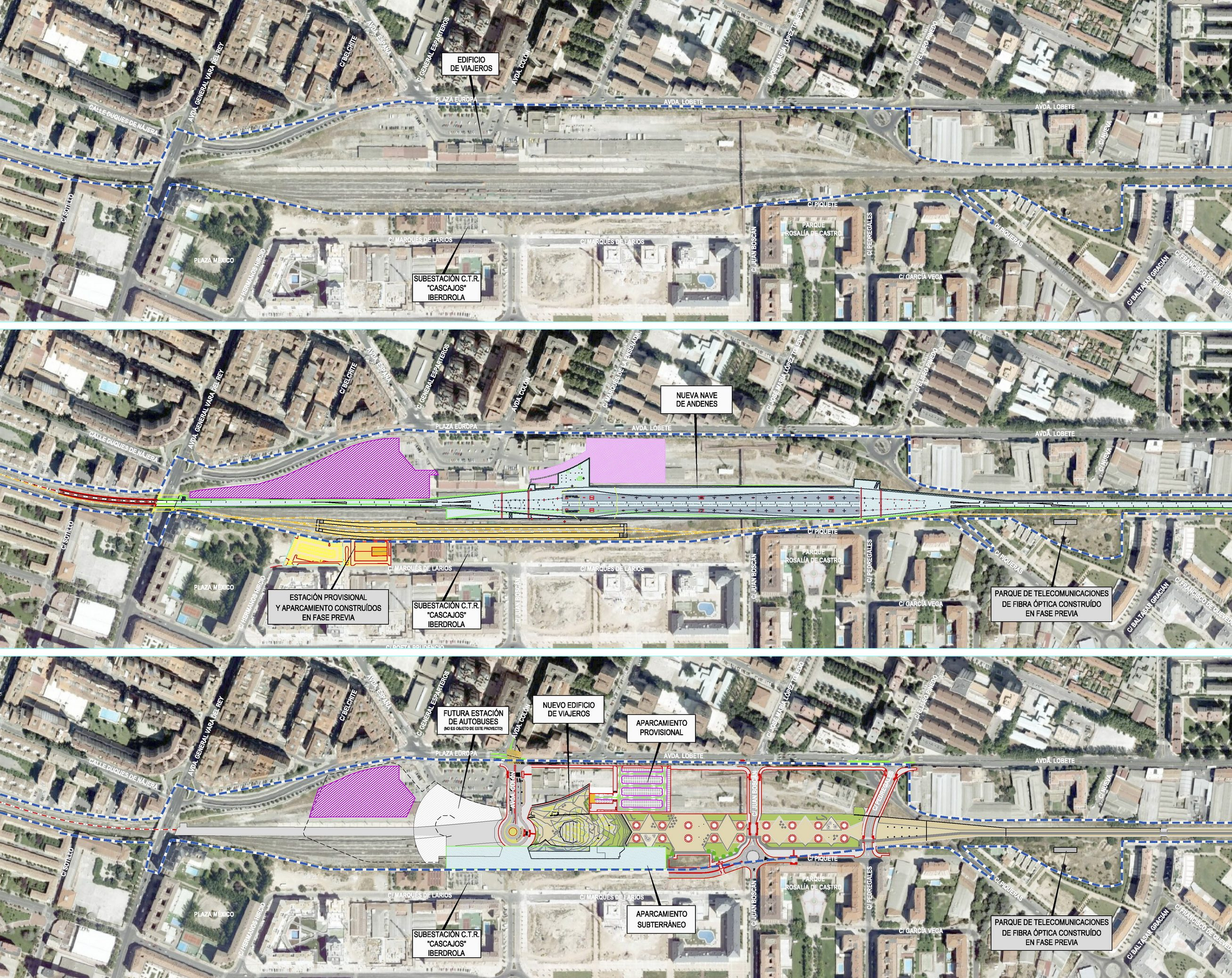 Esquema de la actuación de la obra FASE 1: estado inicial, actuación ferroviaria y actuación urbana, 2009