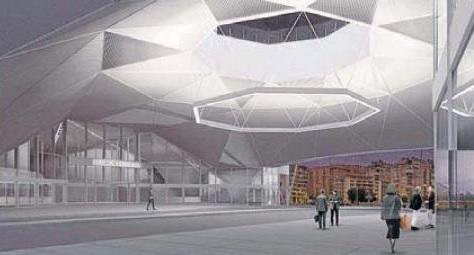 Óculo central y acceso a la estación de autobuses,en virtual