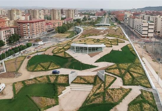 Vista aérea del Parque Felipe VI, 2020